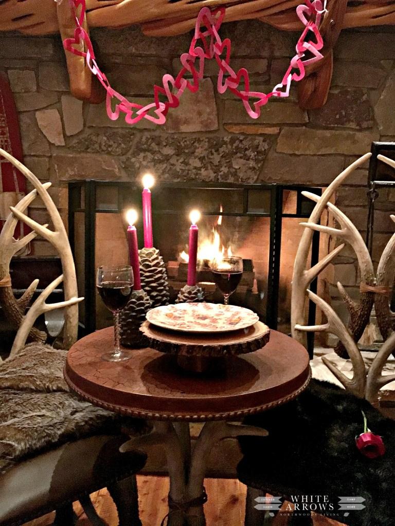 antler table, romantic dinner, Valentine's, date night, cabin, fireplace, log home, Valentine decor , candlelight dinner