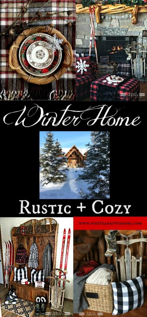 winter decor, cabin, vintage decor, vintage skis, buffalo plaid, log cabin, lake house, Northwoods, rustic decor, cozy decor
