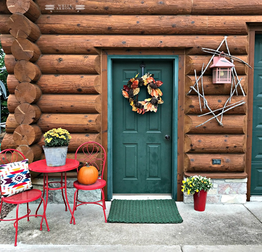 Autumn Decor, Fall Decor, Log Cabin, Cabin, Porch, Bistro Table, Fall Wreath, Green Door