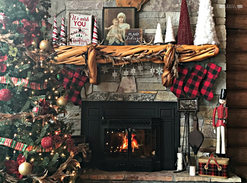 christmas mantle buffalo plaid log cabin cabin decor rustic decor stone - Buffalo Check Christmas Decor