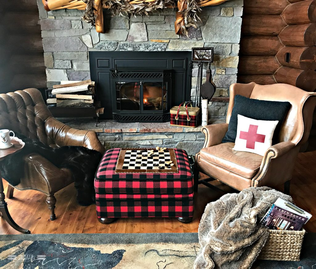 winter neutral decor, winter decor, neutral decor, cabin, cabin decor, cabin style, log cabin, buffalo plaid