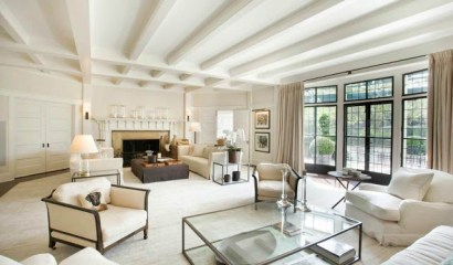 cococozy hamptons mansion real estate home house living room off white beige white on white french doors encasement windows black trim
