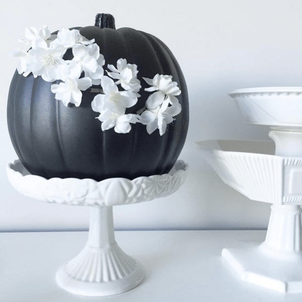 sarah-gunn-halloween-chic-black-pumpkin-white-flowers