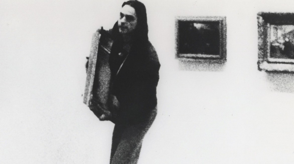 Ulay, There is a Criminal Touch to Art (1976), film still from the Berlin action. Gelatin silver print, 20 x 25 cm. Series of 18 works. © Ulay. Courtesy the artist and MOT International, London. Used with permission.