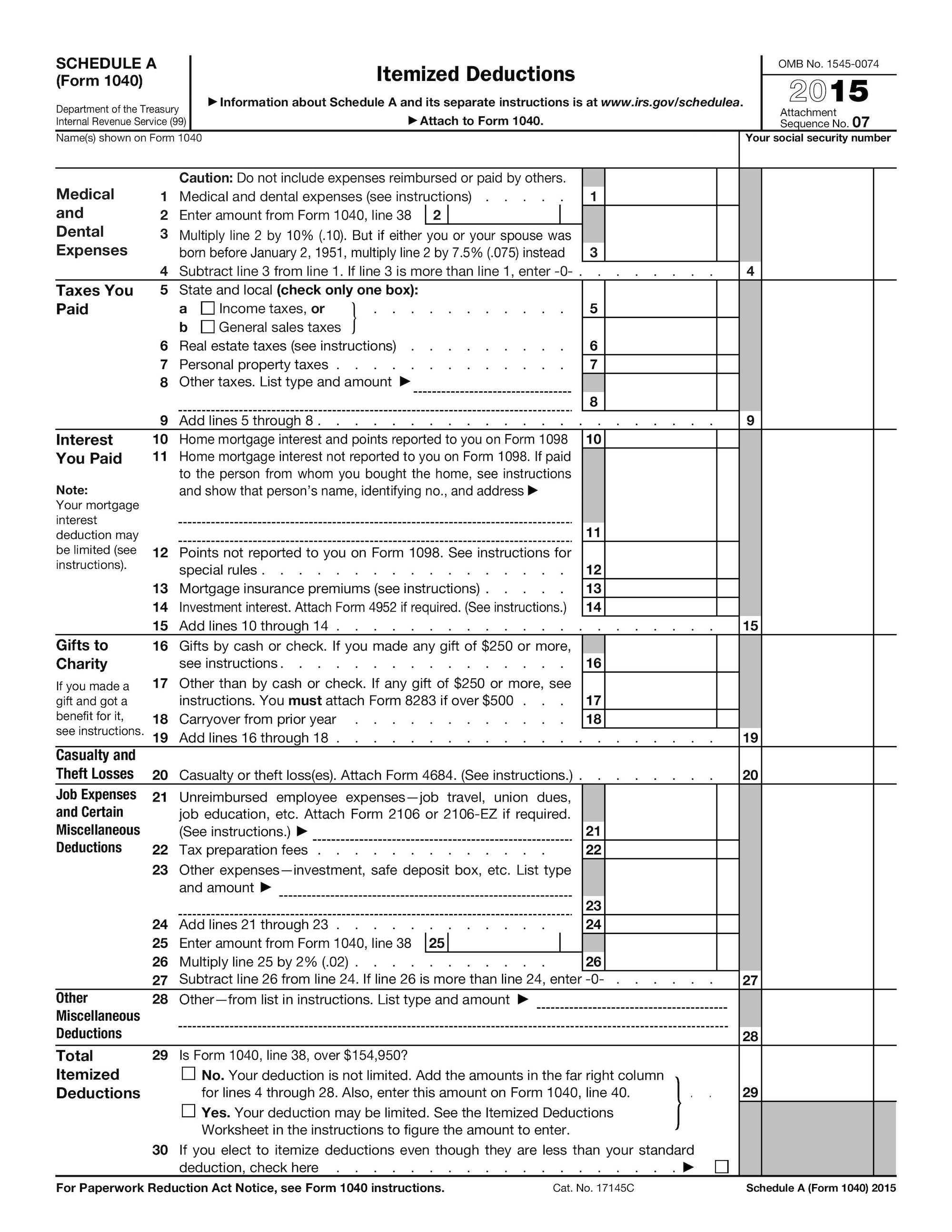 List Of Itemized Deductions Worksheet