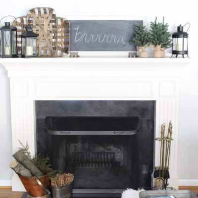 Cozy Peaceful Winter Mantel- mantel decor- room design- rustic home decor- wall decorating ideas- mantle- decoration ideas- living room decorating ideas- DIY- DIY projects- home decor- winter decor- winter decorating- winter mantel- office mantel