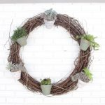 Outdoor succulent garden wreath- living wreath- grapevine wreath- hanging pots- succulents- outdoor- decor-garden- wreath with pots- DIY