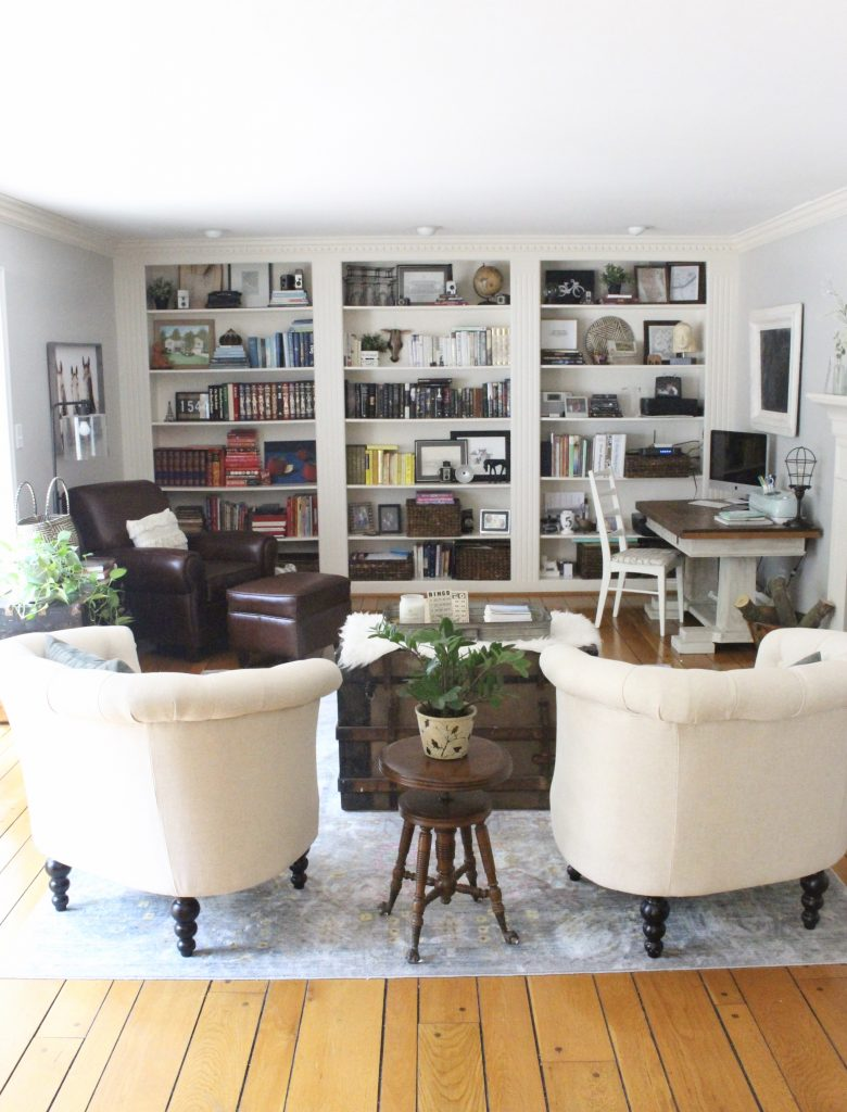 A multifunctional- living room- office- room design- tour- A wood dresser painted green- Amy Howard paints- One step paint- green- Cherbourg- how to use chalk paint- chalk painted finish- green furniture- how to paint furniture- home design- DIY- Do it Yourself project- painted furniture- crystal knobs- gray walls- antique pieces- accent chairs
