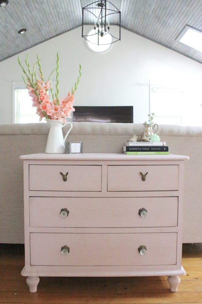 Pink paint- dresser- thrift store furniture- Annie Sloan- chalk paint- shabby chic- painted furniture- antique brass pulls- knobs- living spaces- home design ideas- decor ideas- painted ceiling- farmhouse style