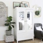 Updated White Cottage Master Bedroom with New Painted Armoire