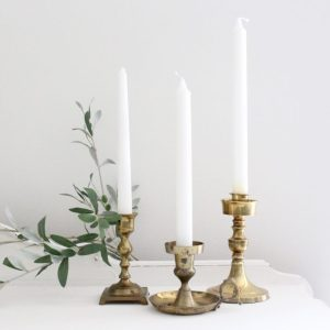 brass- candlesticks- vintage- centerpiece- table setting- home decor