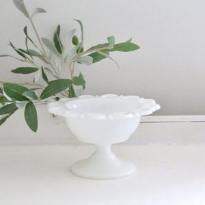 white- milk glass- pedestal- dish- vintage- home decor- candy dish- table setting