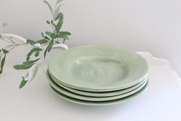 green- dishes- dinner plates- tableware- table setting- vintage