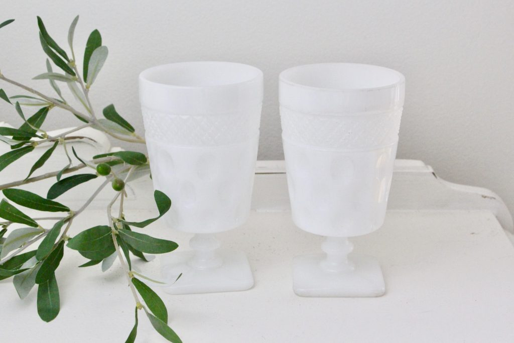 white-milk glass- goblets- dot pattern- home decor- vintage- kitchen