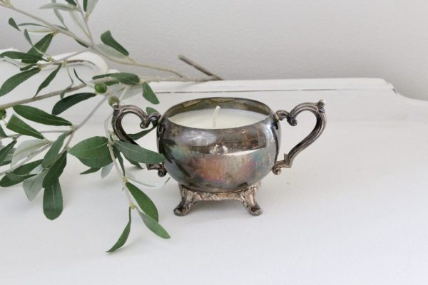 silver pot- candle- handmade- lemon and lavender- vignette- candles- centerpiece- soy candle