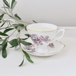 handmade- candle- soy- tea cup- lavender- lemon- vintage- antique- home decor