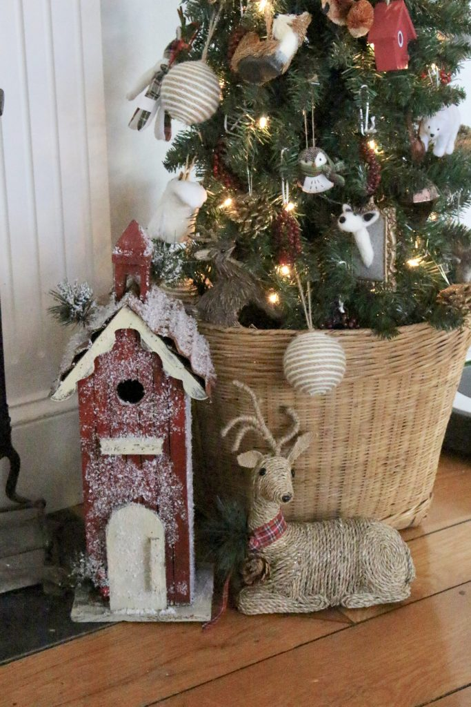 Rustic- Christmas- Mantel- mantle- animal ornaments- birch logs- copper bucket- song sheet