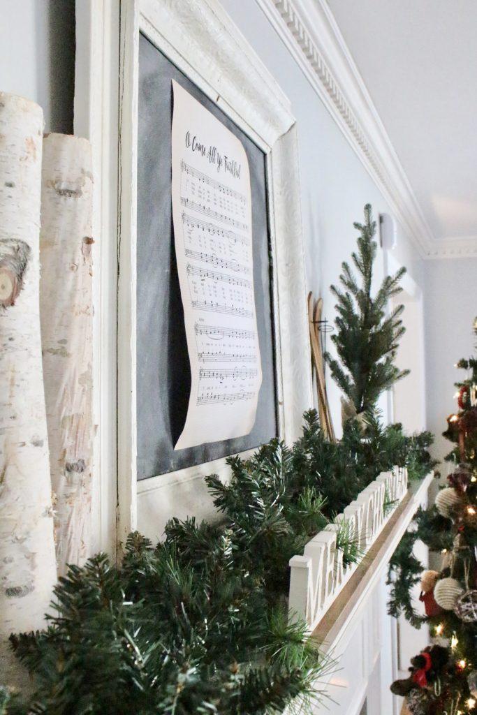 mantel- mantles- rustic- Christmas- birch logs- mini tree- animal ornaments- merry christmas