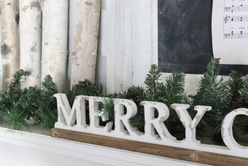 Merry Christmas Mantel- mantles- rustic- decor- birch logs- greenery
