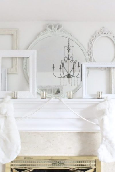 White- Christmas- mantel- Snow White- fireplace- mantels- seasonal decor- all white mantel- shabby chic decor- cottage style mantel- bedroom fireplace