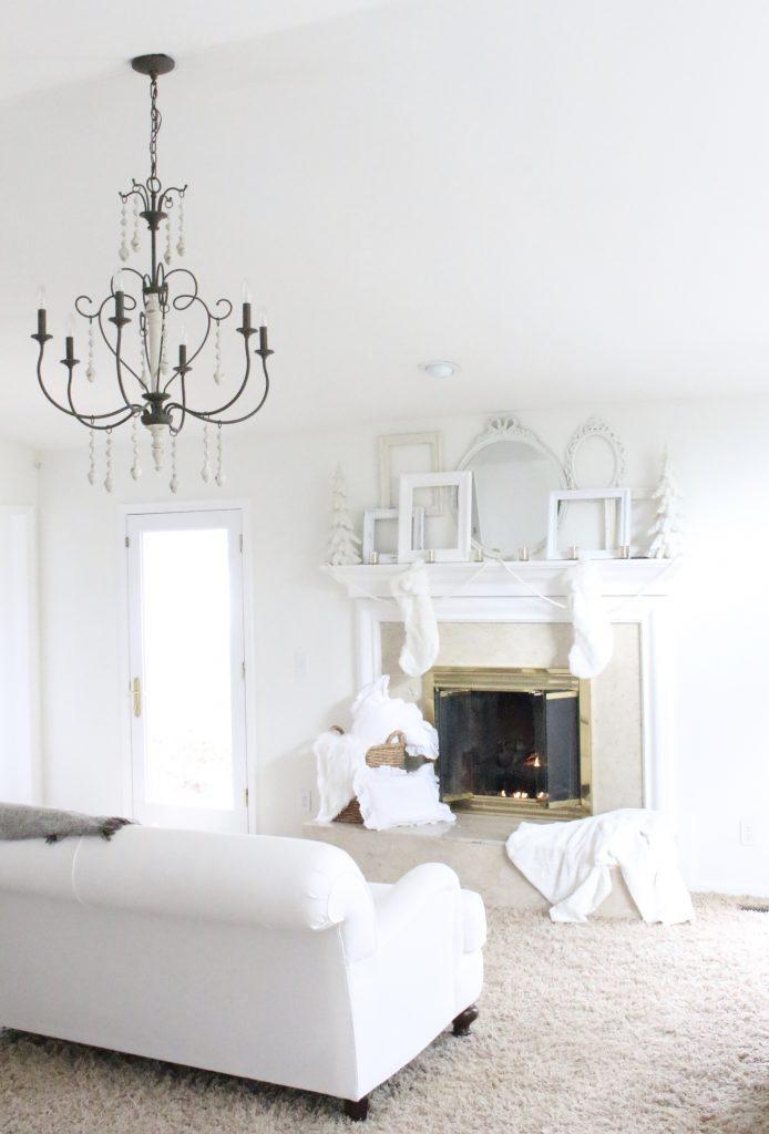 Dreamy- white- Christmas- mantel- mantles- seasonal decor- all-white mantel- cottage style- shabby chic decor- home decor- Christmas bedroom