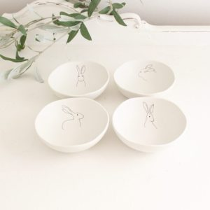 rabbit- bowl- stoneware- dinnerware- kitchen