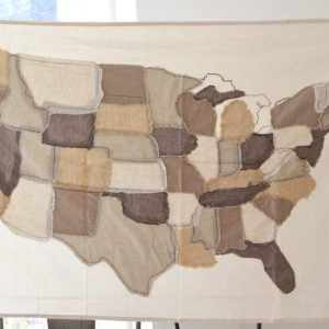 Cotton USA Stitched Map- Wall decor- hanging- grommets