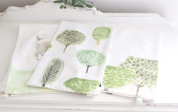 cotton tea towels- trees- lamb- set of 3