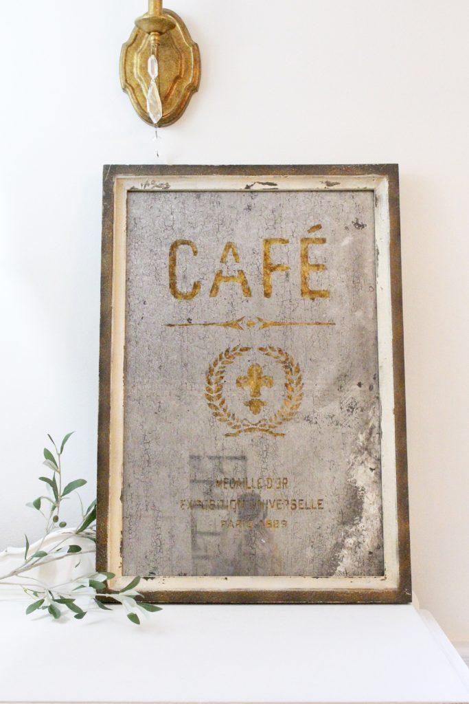 antique- mirror- cafe- wood framed- home decor