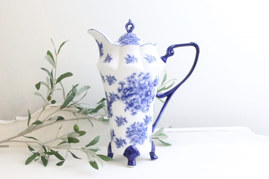pitcher- blue and white- ironstone- kitchen- home decor- vintage goods