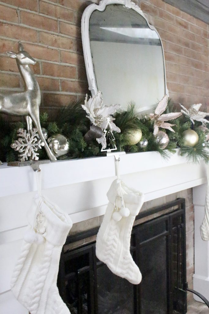 Christmas- decor- seasonal decor- family room at Christmas- pink- silver- gold- decorations- decorating with pastels for Christmas- holiday decor ideas- seasonal decorations- stockings- fireplace Christmas decor- mantel