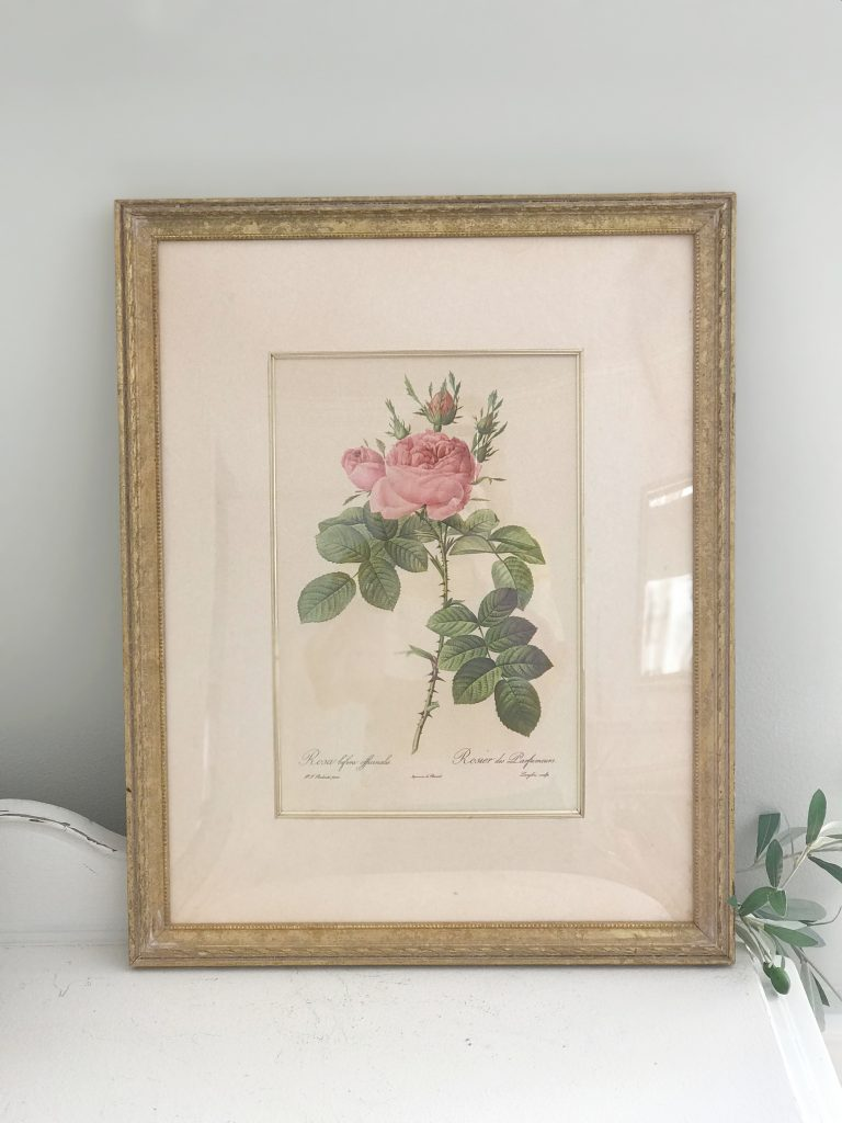 artwork- rose- J.C. Penney- vintage goods- floral art