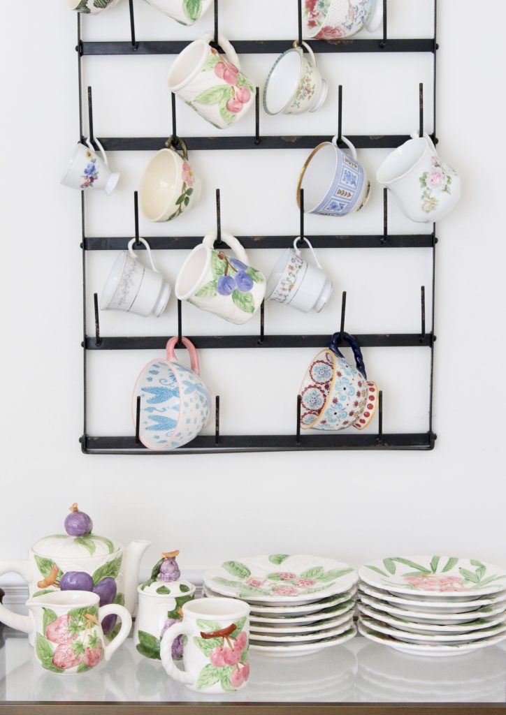 china- collections- collectibles- thrifted- flea market- vintage goods- dishes- pottery- cup rack