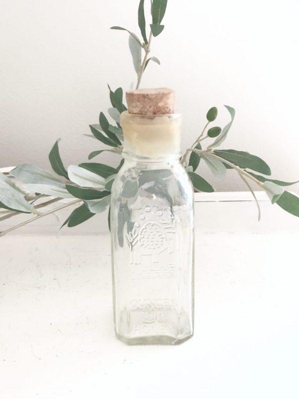 honeybee- glass bottle- honey- kitchen- vintage goods