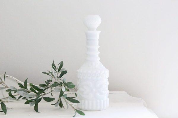 white milk glass- milk glass- decanter- vintage- home decor