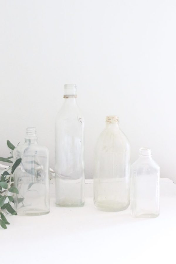 glass bottles- vintage- home decor- patina