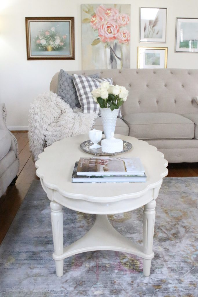 coffee table decor- scalloped edge- French country look- cottage style decor- coffee table styling- spring- pastel- milk glass- vintage items