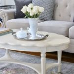 coffee table decor- scalloped edge- French country look- cottage style decor- coffee table styling- spring- pastel- milk glass- vintage items- vintage milk glass vase