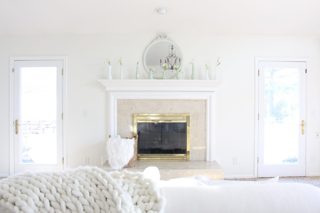 spring decor- master bedroom- spring decor- bedroom decor- bedroom-white decor- shabby chic decor- feminine decor- spring in the bedroom- floral prints- mantel decor- faux milk glass