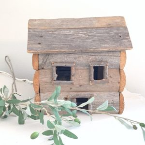 wood log cabin- home decor- vintage log cabin decor