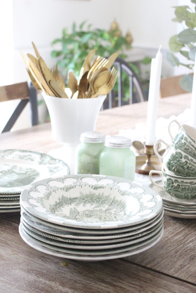 Classic Fall in our Dining Room- jadeite- green milk glass