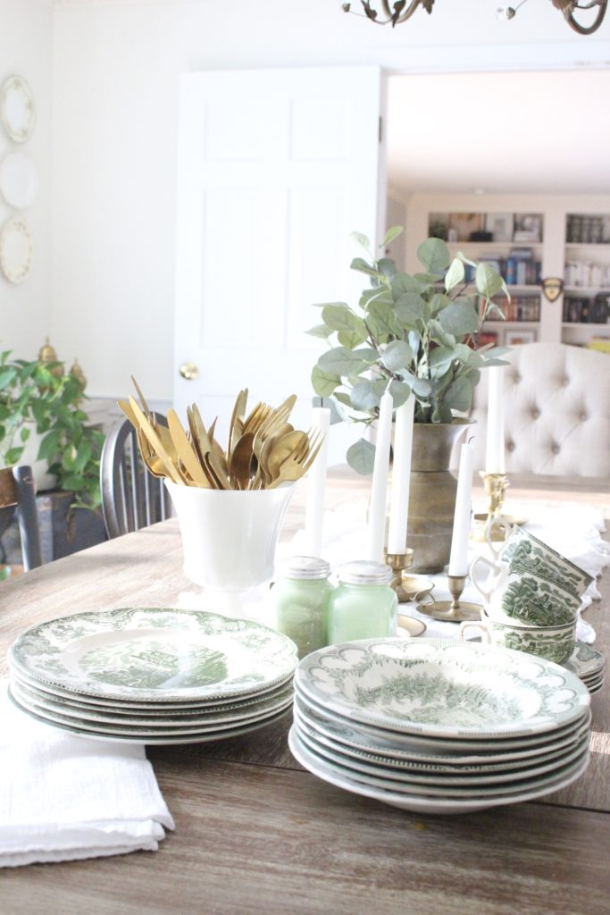Classic Fall in our Dining Room- milk glass