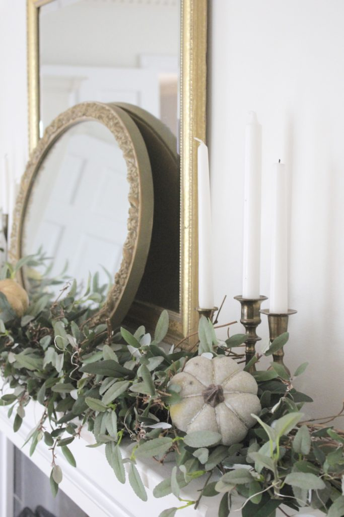 Classic Fall in our Dining Room- classic fall mantel- romantic fall mantel