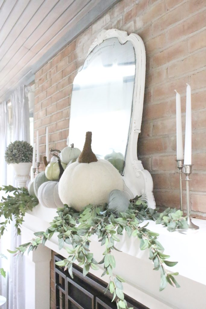 Decorating for fall with Subtle Colors- fall decor with pastel colors- pastel colors- green- gray for fall- living room fall decor- mantel decor for fall- subtle fall- simple fall decorations- mantel decor with pumpkins