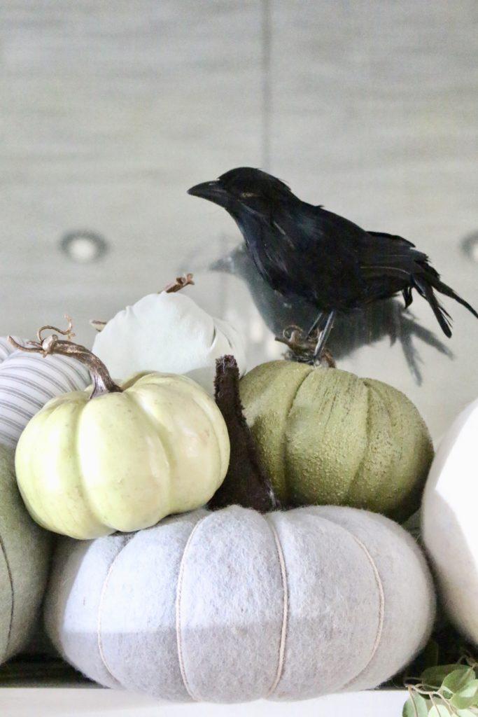 Fall Mantel Updated for Halloween- halloween mantel- crows- bat skeleton- pumpkins- pumpkin patch mantel- cottage style- halloween decor- fireplace decor- decorations for Halloween- wool pumpkins