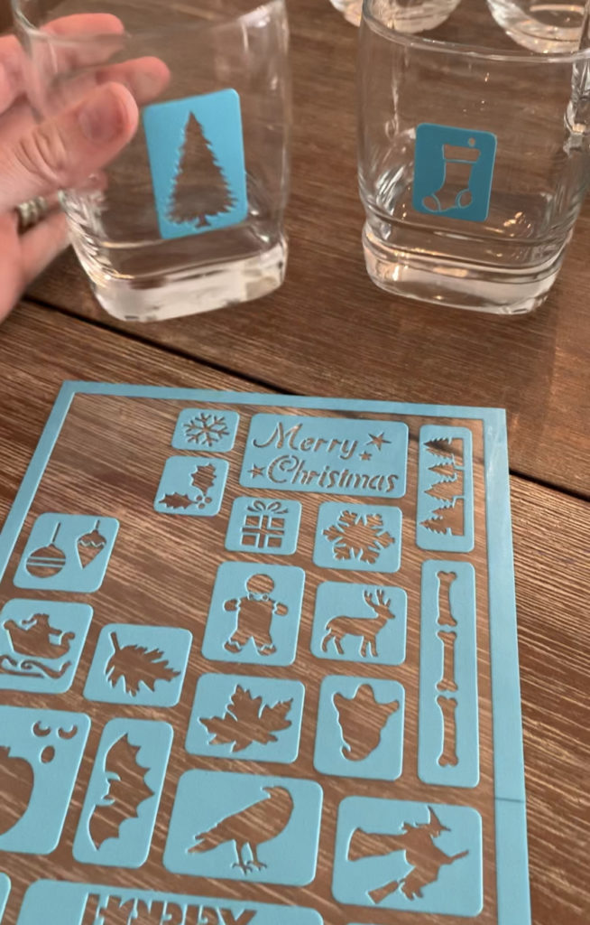 Etched Holiday Glassware- DIY- Christmas gifts- DIY gifts- etching- glassware- stencils- holiday glasses- craft project for gifts- holiday gifts