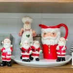 Kitchen Shelves with Vintage Santas