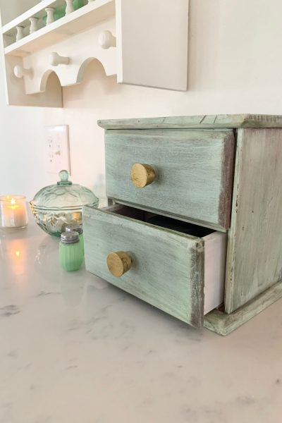 Painted Two Drawer Wood Cabinet