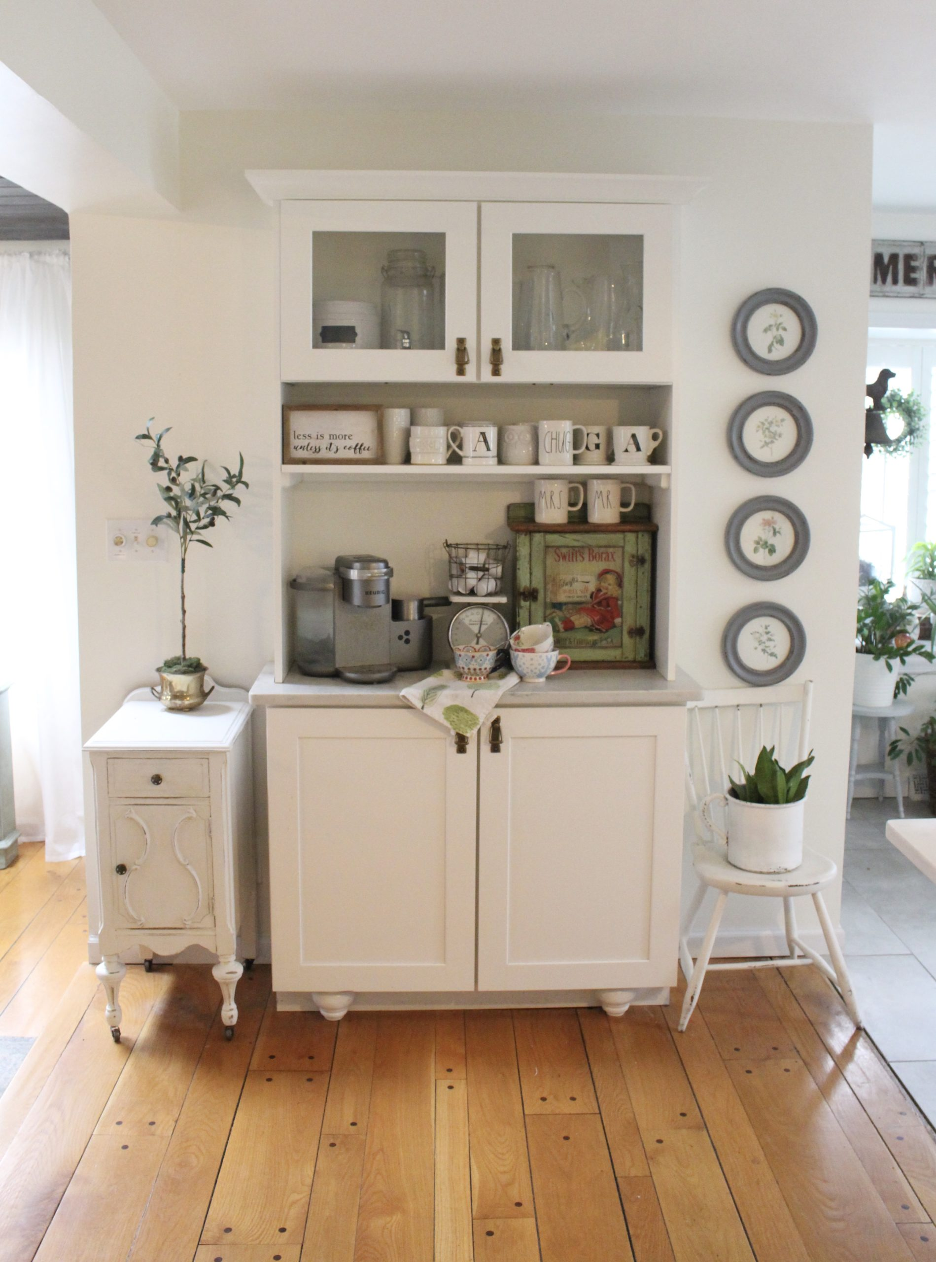 Thrift Store Cabinet Updated with Chalk Paint for a Coffee Bar.- diy- projects- painting furniture- using chalk paint- updating furniture- rusteoleum linen white chalk paint- coffee bar