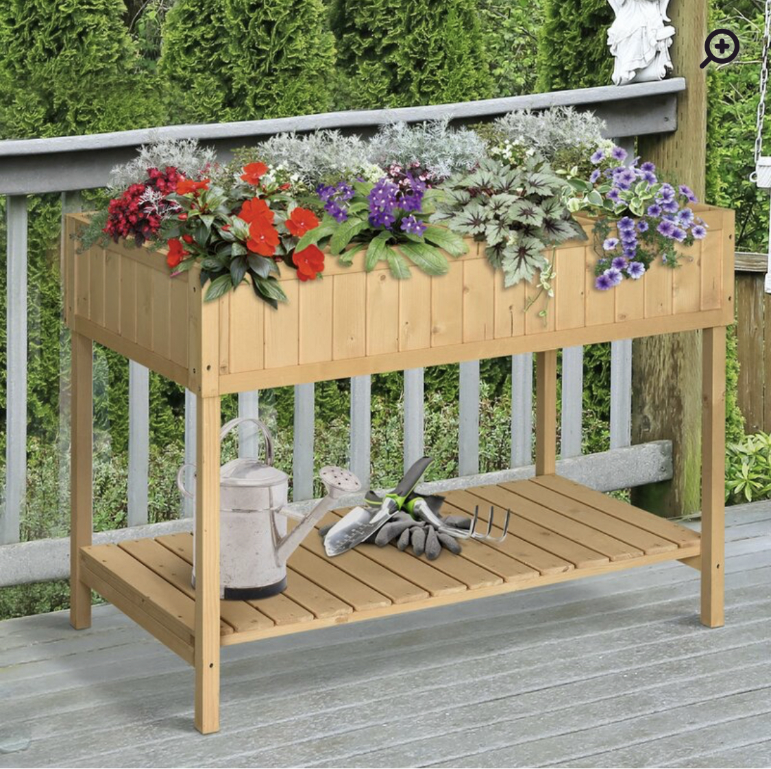 Raised Garden Cart with Shelf
